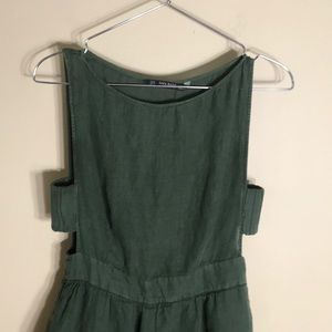 Zara basics olive green linen sleeveless dress